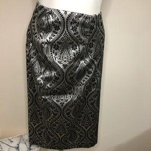 NWT WORTHINGTON Silver Black Jacquard Skirt Sz 18